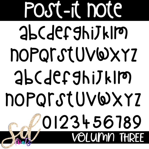 SD Fonts Post-it Note